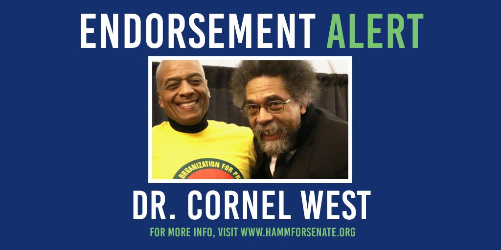 🚨 ENDORSEMENT ALERT! 🚨It is an honor to announce that I have been endorsed by the great @CornelWest He is a friend, a brother and a compatriot. His support deepens our stride, quickens our pace, and strengthens our resolve as we move ever forward.