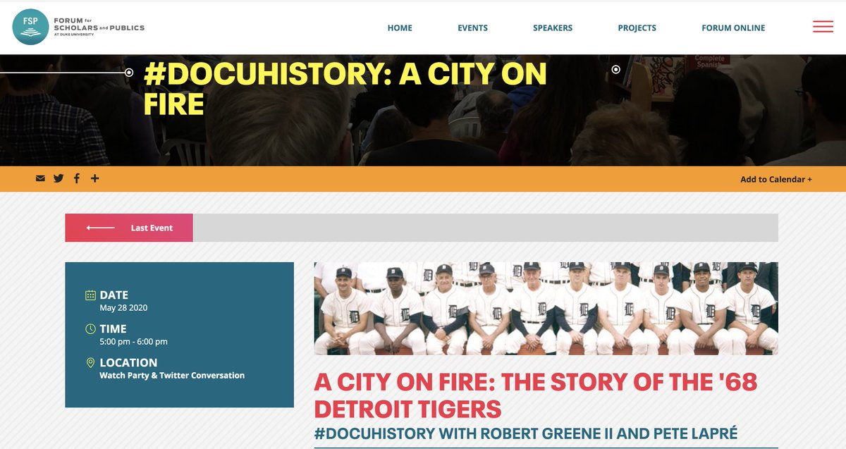 "Baseball, sports history, & 60s history fans! Join hosts @robgreeneII & @ThinkinHistory THURSDAY at 5:00 pm EDT for #docuhistory w/ ""A City on Fire @DukeFSP link w/ resources from @ZinnEdProject @EdgeofSports @JustinTinsley @TomSugrue @christophclarey fsp.duke.edu/events/docuhis…"