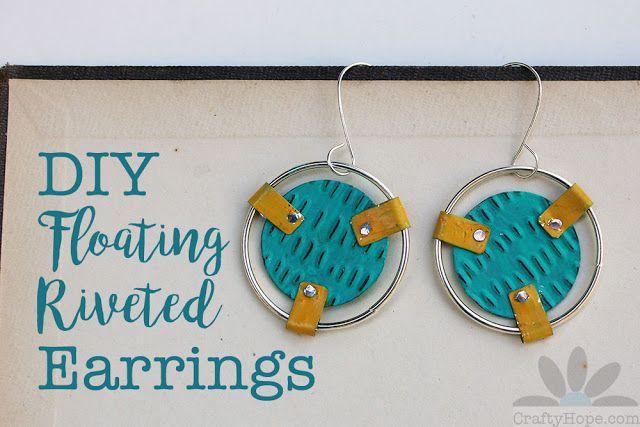 DIY Floating Riveted Earrings  #jewelrymaking #diy #tutorial #upcycling
