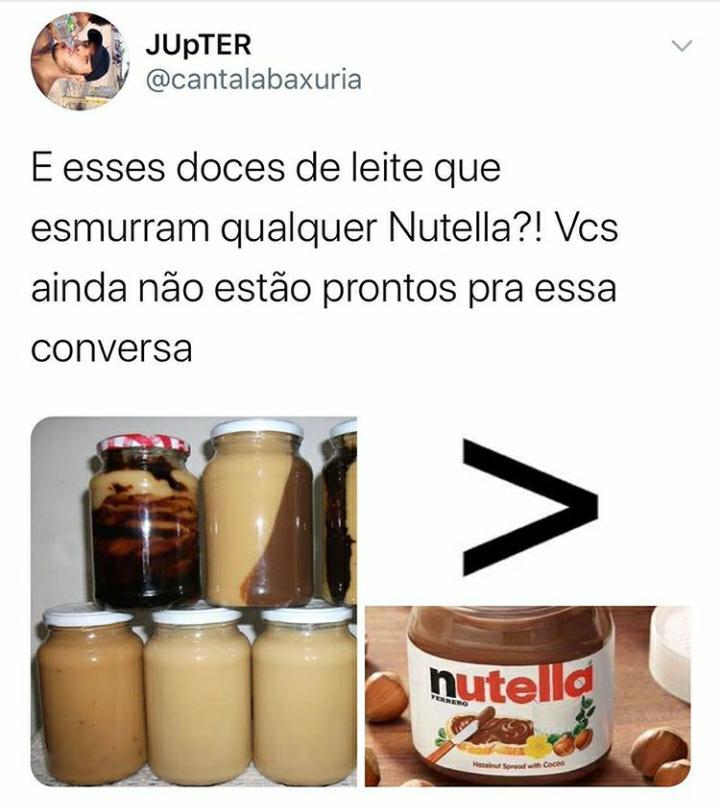 Eu aceito os 2!  E vcs?  . . #nutella #docedeleite #doces pic.twitter.com/ldmHEmCIz3