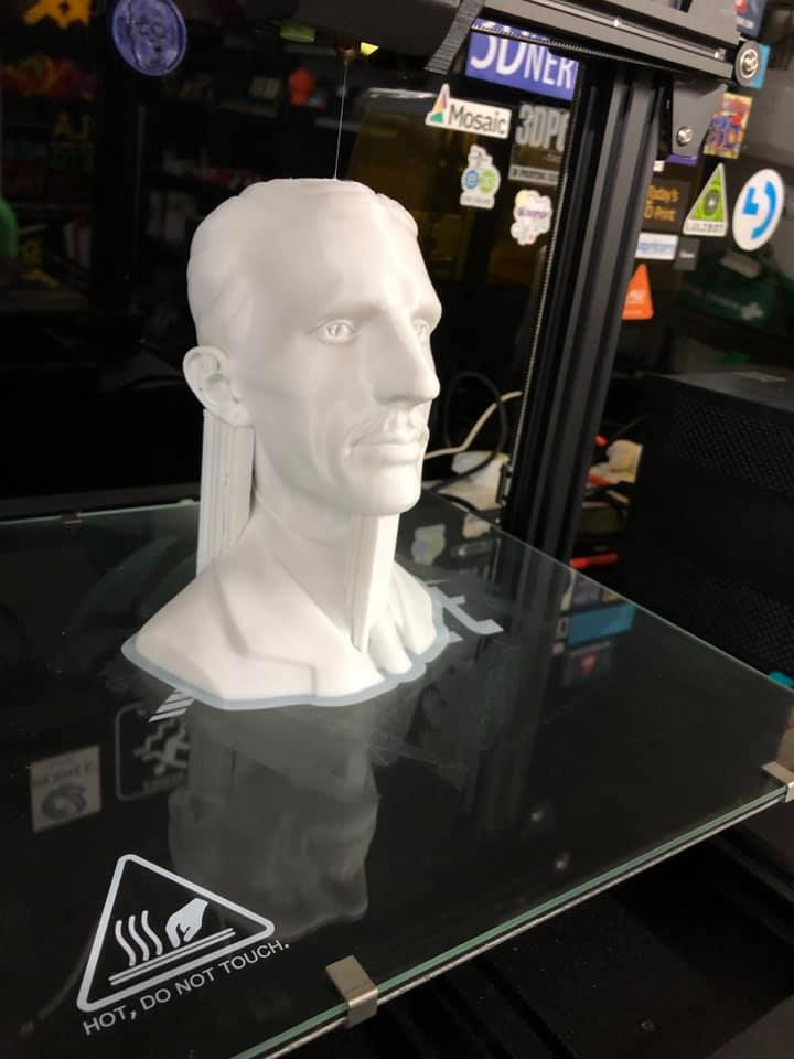 """#AnetET5Pro """"Say hello to our hero Nicola TESLA, printed on ANET ET5PRO and TESLA filament PLA white, without any support on his giant nose☺️😇""""  Repost: FB @ Dan Salvador Thanks for sharing🙌  #bust #3dprinting #anet"""