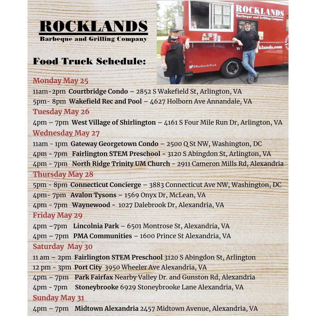 Keep the holiday weekend going with #RocklandsTruck! Check out our schedule for the week. #eatyourbbq #dmvfoodtruck #supportsmallbusiness pic.twitter.com/P8LMX0SDHv