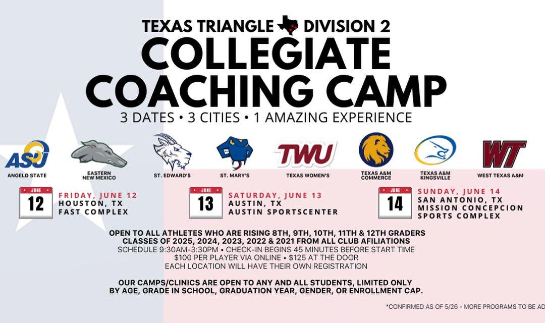 Alamo Volleyball On Twitter Texas Triangle Division 2 College Coaches Performance Camp Register Now Https T Co Ylooaq4f8m Houstonjuniors Austinjuniors Angeloathletics Greyhoundvball Seuvball Stmuvolleyball Javelinasports