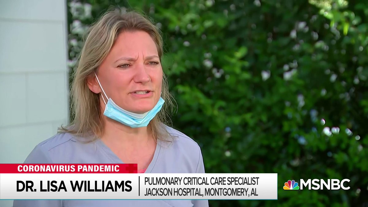 Dr. Lisa Williams, pulmonary critical care specialist at Jackson Hospital in Montgomery, Alabama talking with @dashaburns about how coronavirus cases have pushed the hospital ICU to its limits.