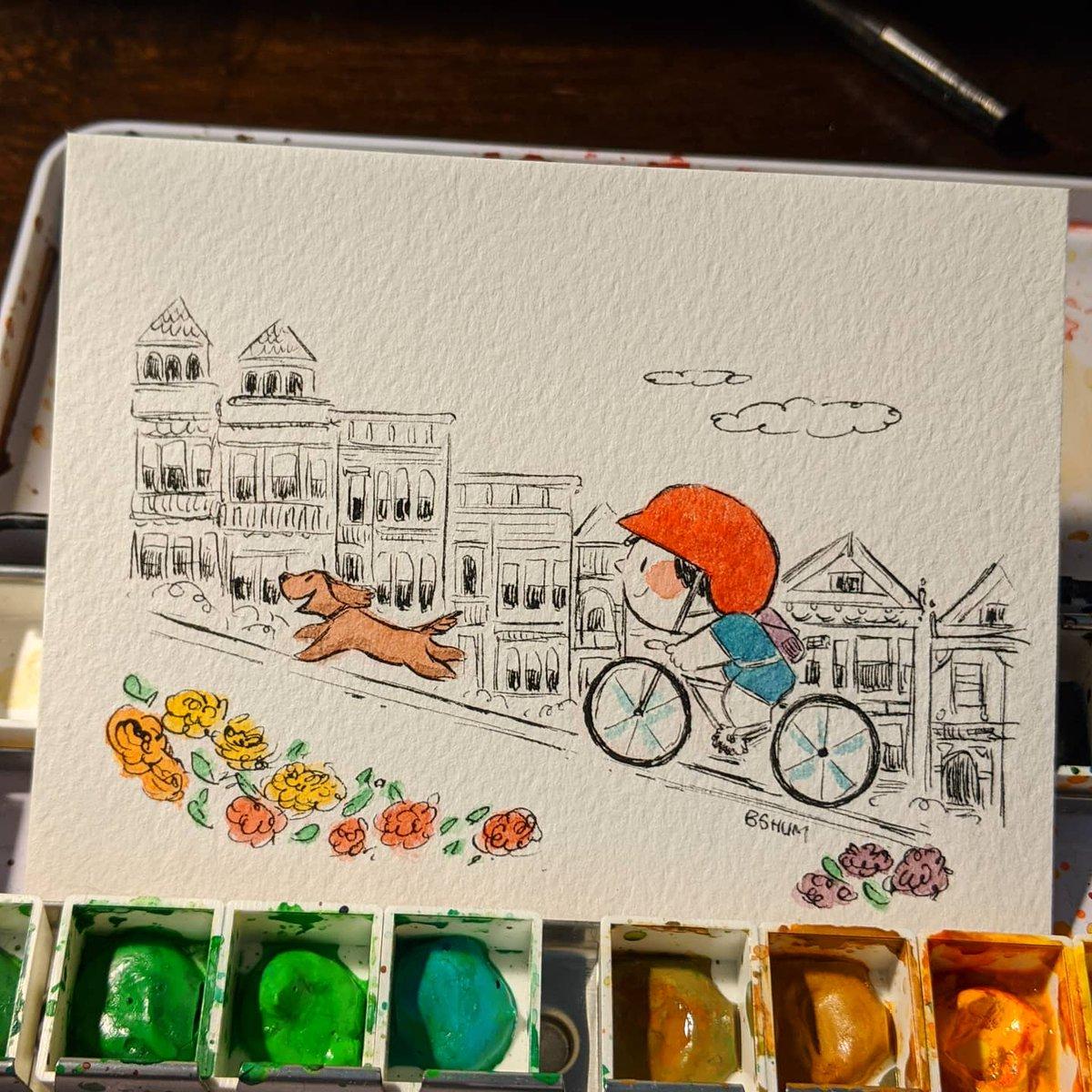 A ride through San Francisco. #kidlitart #illustrator #SanFrancisco #cycling #exercise #dogspic.twitter.com/VGAcP3c6mj