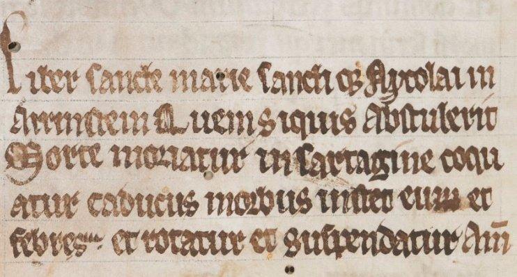 活版印刷が発明されるまで、本は中世ヨーロッパで大変貴重な物でした。このため一部の本には泥棒よけのための呪いが書かれていました。それが「ブックカース」です。写真のブックカースにはラテン語で「この本を持ち去る者は死ぬべし。鍋で焼かれるべし、、、」と書かれています。