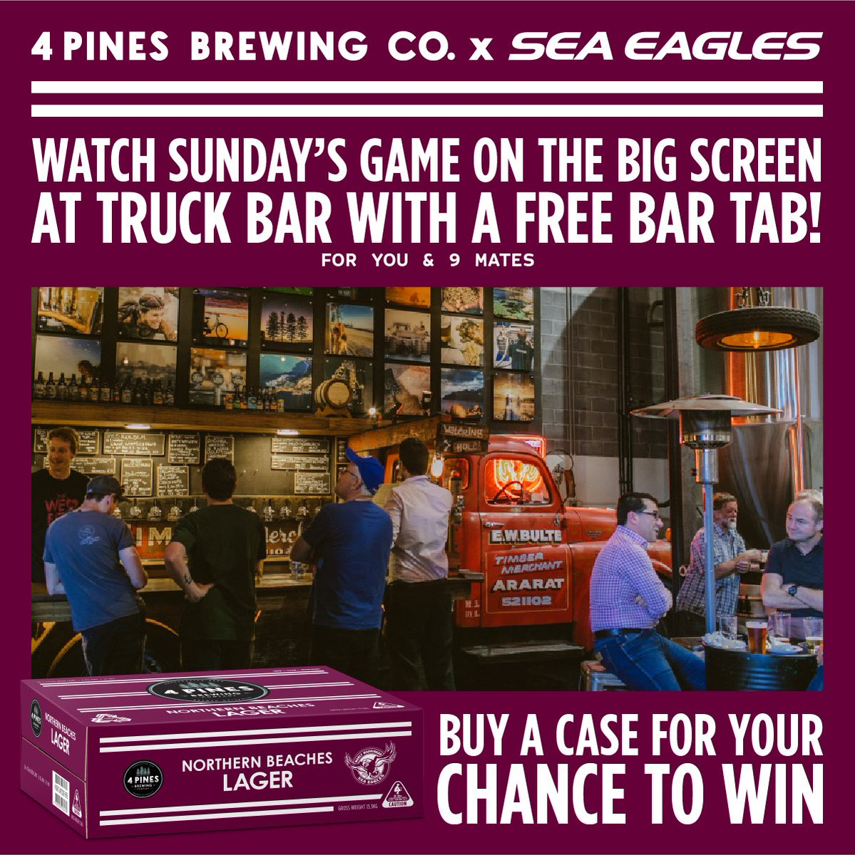 You and 9 mates could have the ENTIRE 4 Pines Truck Bar Brookvale to yourselves to watch Sunday's game with your own bartender and FREE BAR TAB!  Buy a case of Northern Beaches Lager from any 4 Pines venue or via http://www.4pinesbeer.com.au/delivery for a chance to win.  #ManlyForever pic.twitter.com/gw6MrCkZRK