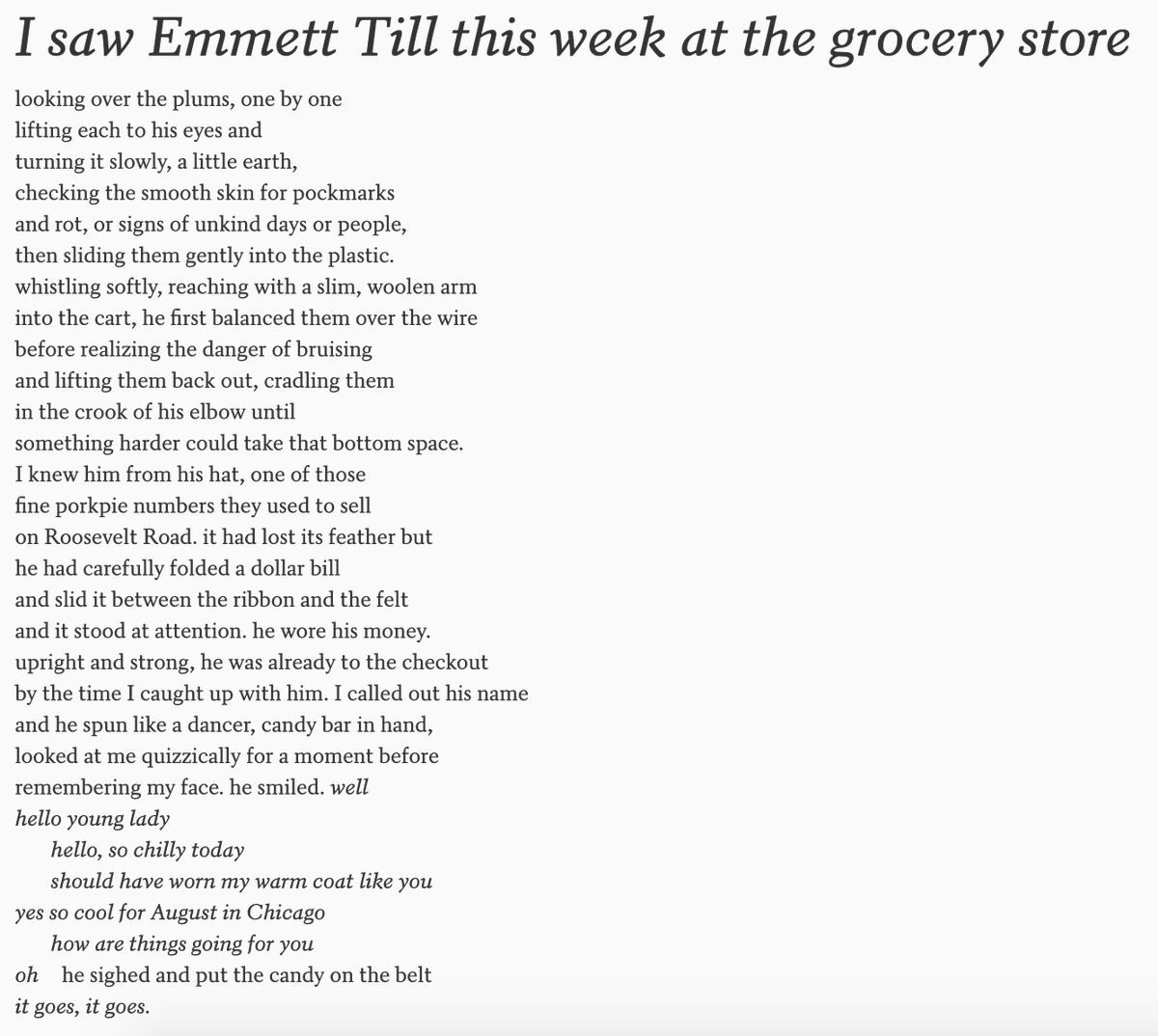 'I saw Emmett Till this week at the grocery store' by @eveewing: poets.org/poem/i-saw-emm…