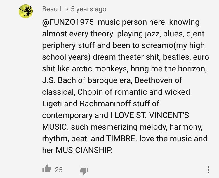 Wow such a heartwarming exchange in the comments of a St. Vincent video :') pic.twitter.com/ONXfnevWXZ