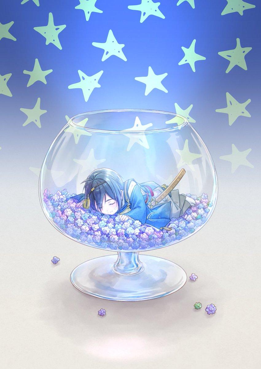 星の綺麗な晩に グラスに金平糖をたくさん入れて月明かりの下に置いておくと 小さな からすまい 閃華欠席のイラスト
