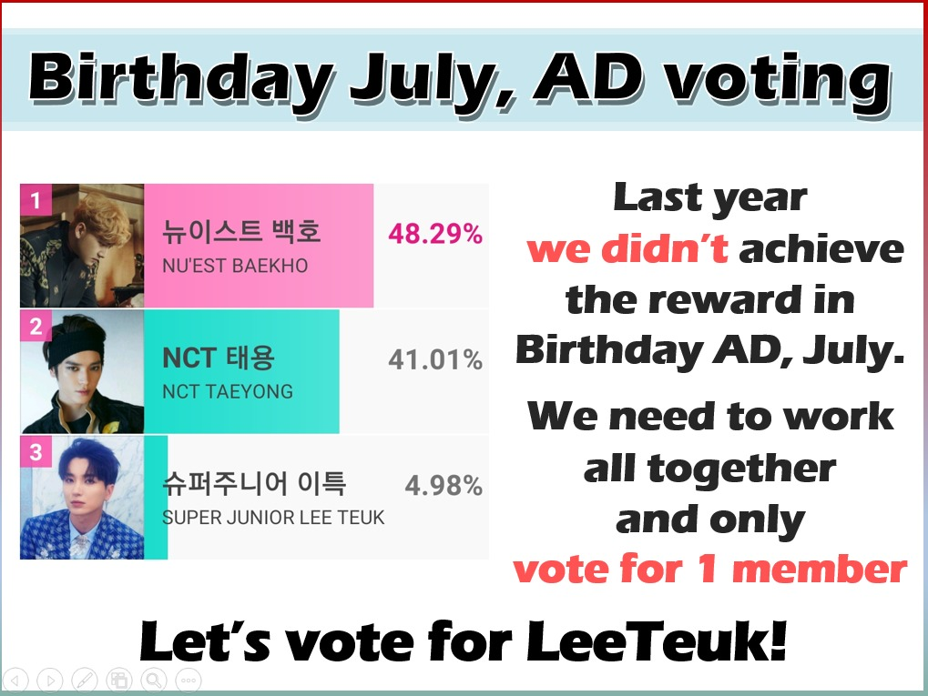 ℹ July b-day ad voting event  The poll results are here: #Leeteuk is the winner. #ELF, please together we can win for @special1004 on #IdolChamp.   ⚠️ Do not split the votes!! Remember last year's experience. Let's give the best of us 💪😊  @SJofficial #박정수 #SUPERJUNIOR https://t.co/QthZpXCD5w