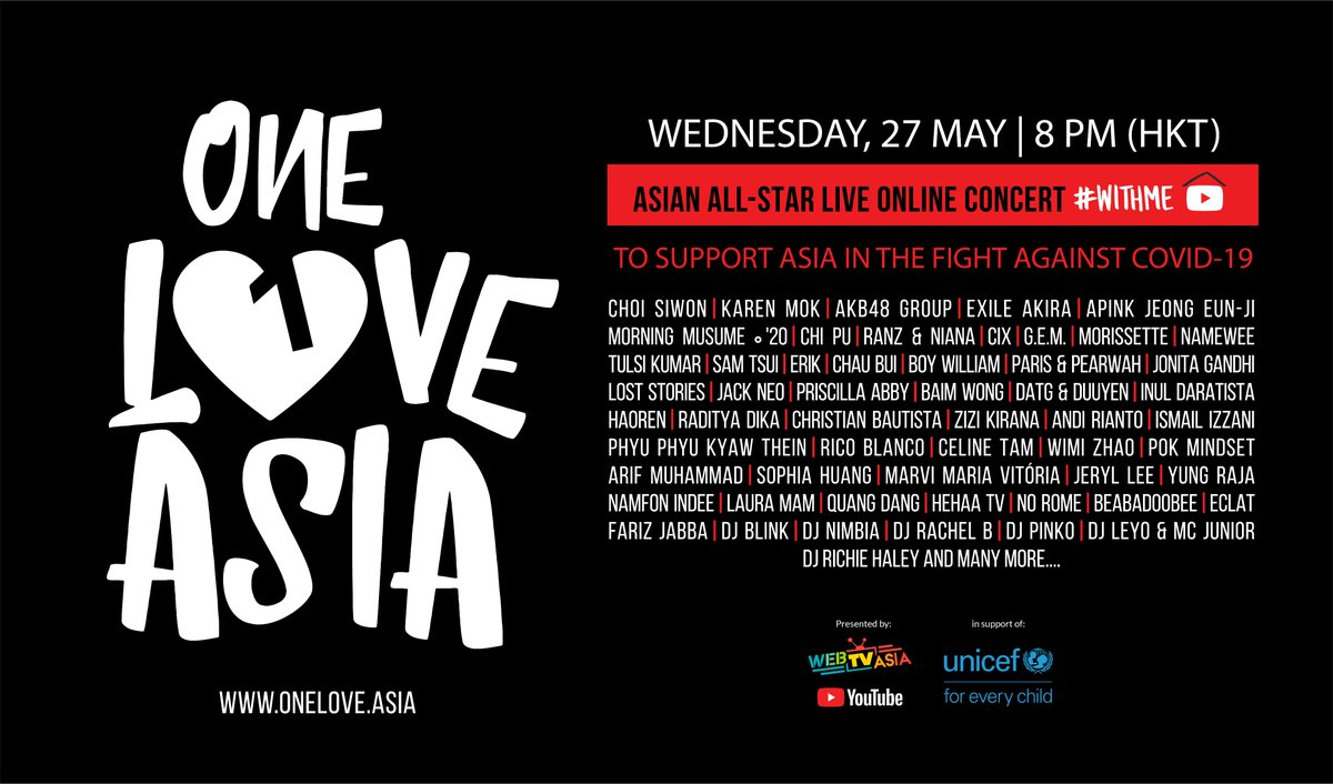 Set your alarms   Asia's biggest artists are coming together in One Love Asia on 27th May to help UNICEF raise funds for families affected by Covid-19 at 8:00 pm HKT. You don't want to miss this → https://yt.be/OneLoveAsiapic.twitter.com/3KH5kqsPoA