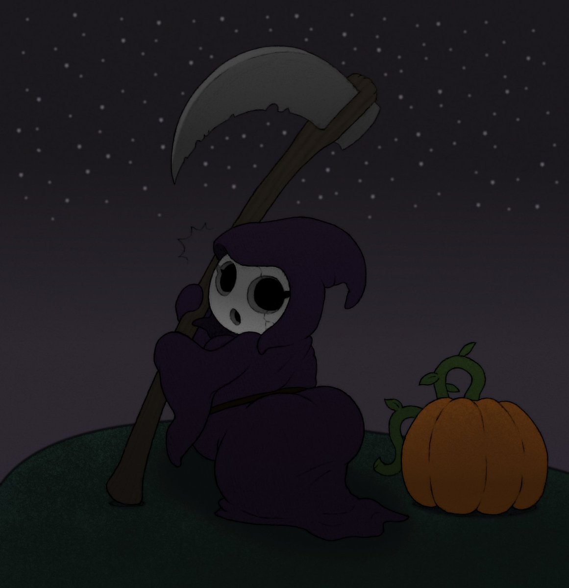 Colored a pic my partner @JerGaia drew last Halloween, It's me as a precious fat lil shortstack shygal ready to do some midnight reaping!  ...Once I figure out how to hold the scythe without falling over, that is. It's heavy! https://t.co/lvCaXaZrkX