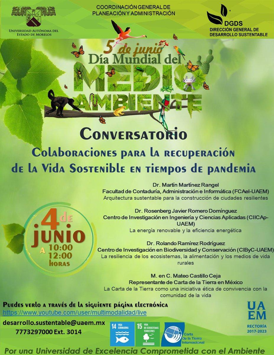 """Conversatorio """"Colaboraciones para la recuperación de la vida sostenible en tiempos de pandemia"""" #DGDS #UAEM"""