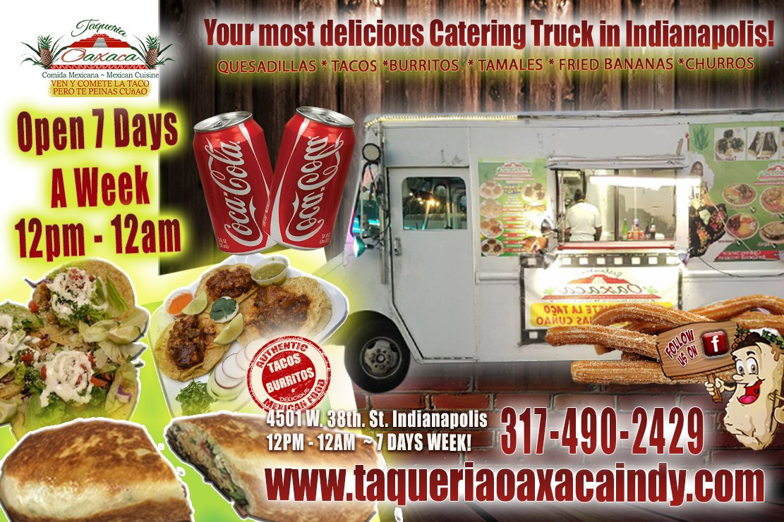 Mouth watering Authentic Mexican #Burritos #Tacos #Quesadillas #Tortas & More! Currently, you will find Taqueria Oaxaca Indy and their crew Thankfully operating from 12 noon until 12 midnight 7 days a week at their 4501 W. 38th. St. location! https://twinflavorsites.wufoo.com/forms/p43mbqo1bwfn1e/ …pic.twitter.com/28U48JAEsu