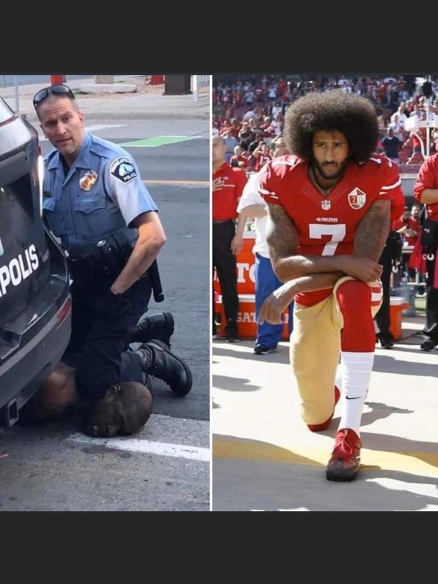@MichaelRapaport One placed his knee upon a field and calmly looked ahead  The other on a black man's neck until that man was dead  One wore a football uniform and simply took a stand  The other wore a gun and badge and calmly killed a man  #ICantBreathe #GeorgeFloyd #MinneapolisPoliceMurderdHim https://t.co/S1SqfbbutP
