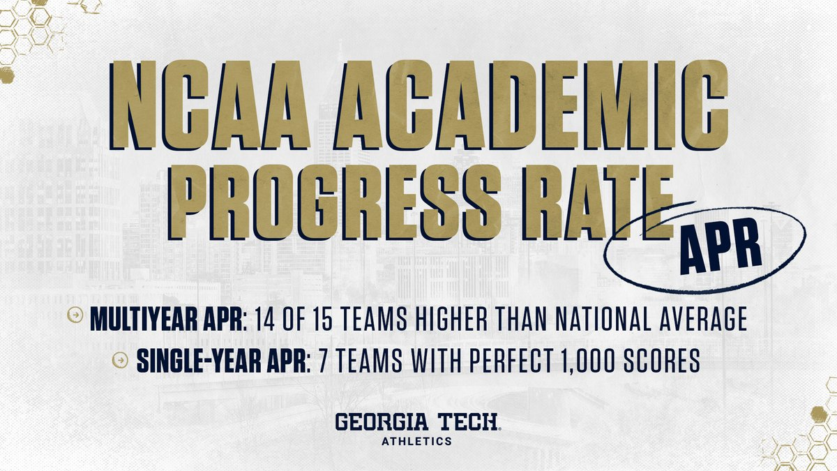 Our student-athletes have once again excelled in the NCAA's Academic Progress Rate (APR) metric, with 14 out of 15 programs higher than the national average 🐝🐝🐝 Read more: buzz.gt/APR_18-19 #TogetherWeSwarm