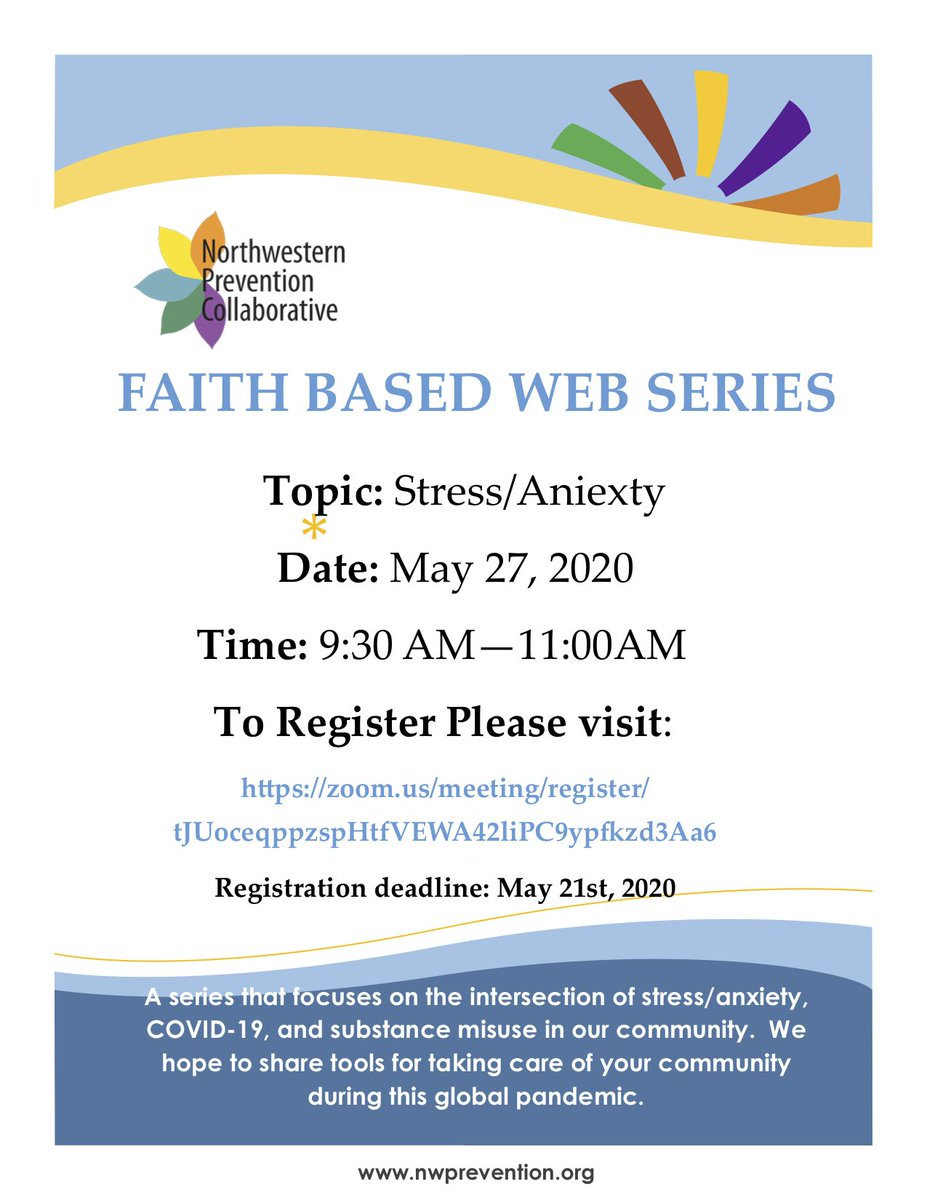 We're excited to invite you to our Faith Based Web Series. Join us for a discussion of pressing issues in the time of COVID-19 and tools for taking care of your community during this global pandemic. Registration ends soon! #Everyonehasarole https://t.co/YZJt9wJkwj