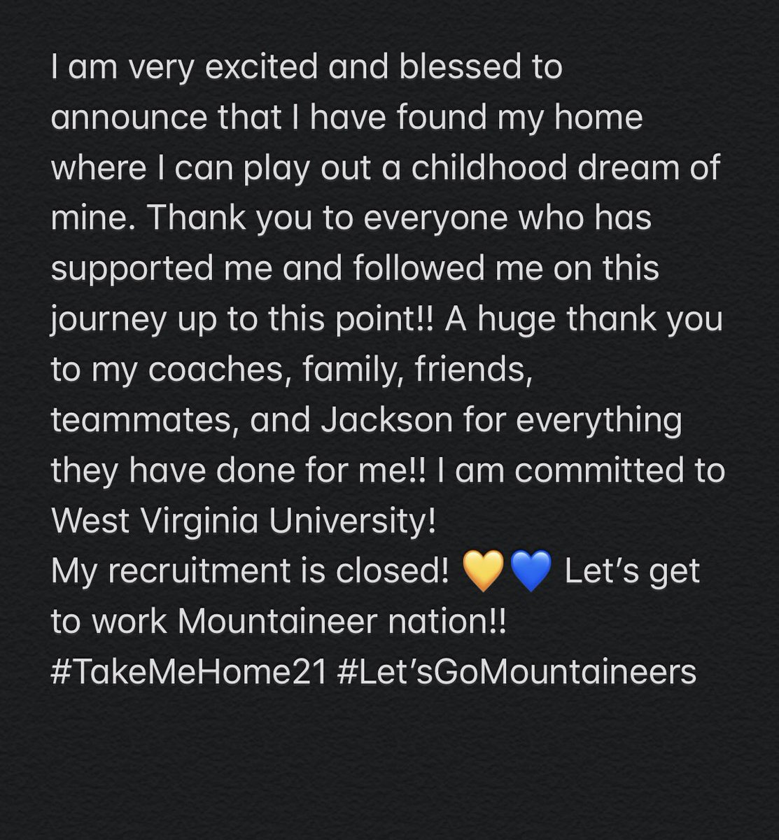 COMMITTED. Let's Go Mountaineers! 💛💙 https://t.co/YkvIpezB7I