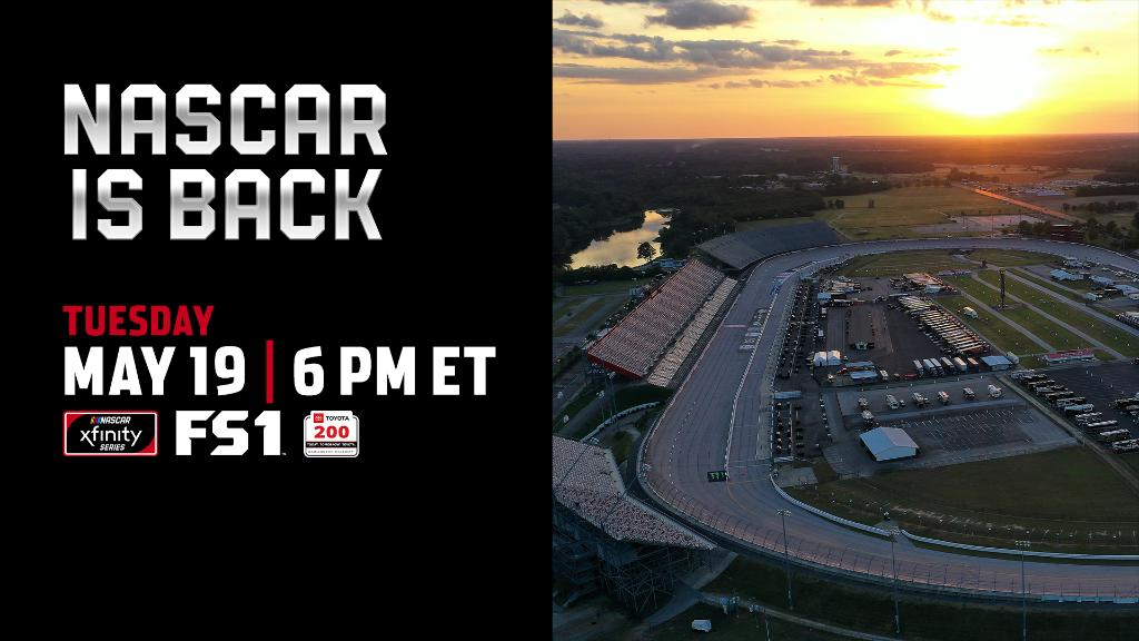 Tonight the NASCAR Xfinity Series makes its return at @TooToughToTame Get to FS1 at 5:00 pm CT!