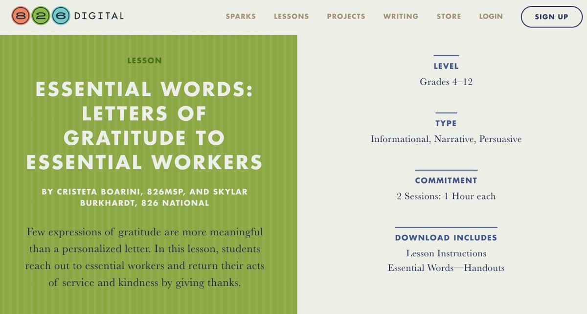 ESSENTIAL WORDS: LETTERS OF GRATITUDE TO ESSENTIAL WORKERS: Few expressions of gratitude R more meaningful than a personalized letter. In this lesson, Ss reach out 2essential workers & return their acts of service/kindness by giving thanks. #remotelearning 826digital.com/lessons/essent…