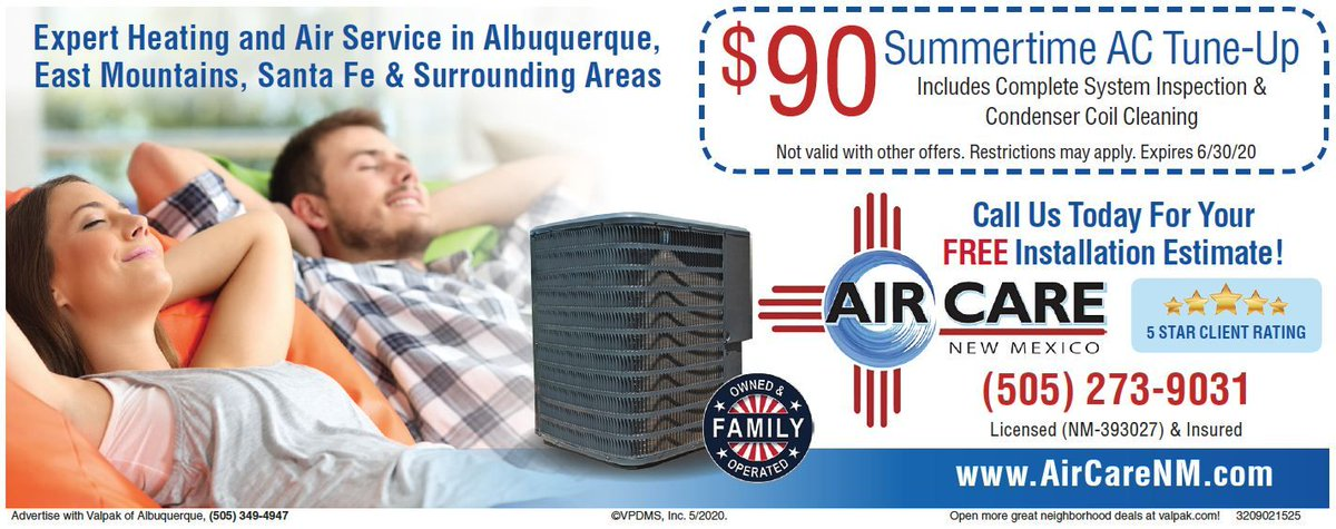 Our $90 Summertime AC Tune-Up special will get you set for the season.   Call our team today to set your appointment!  https:// buff.ly/2ULuOWA      505-595-2273 #Albuquerque #NMtrue #HVAC #service #repairs #localbusiness<br>http://pic.twitter.com/Ile7izg3x9