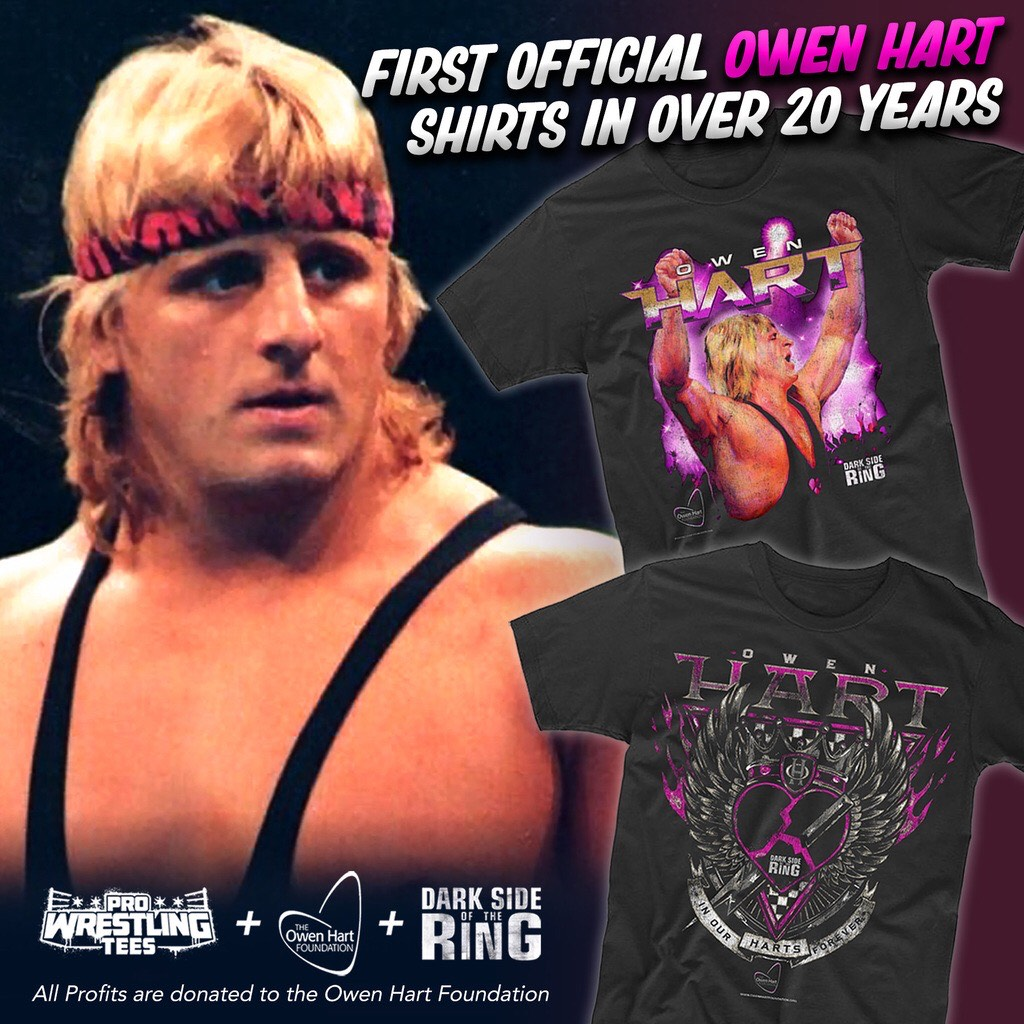.@DarkSideOfRing x @pwtees. All profits go to the Hart Foundation.