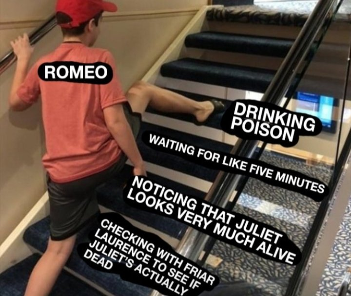 Been distance-teaching Romeo and Juliet to my freshmen and one of them sent me this meme today and I have never been more fulfilled in this job #TeacherLife