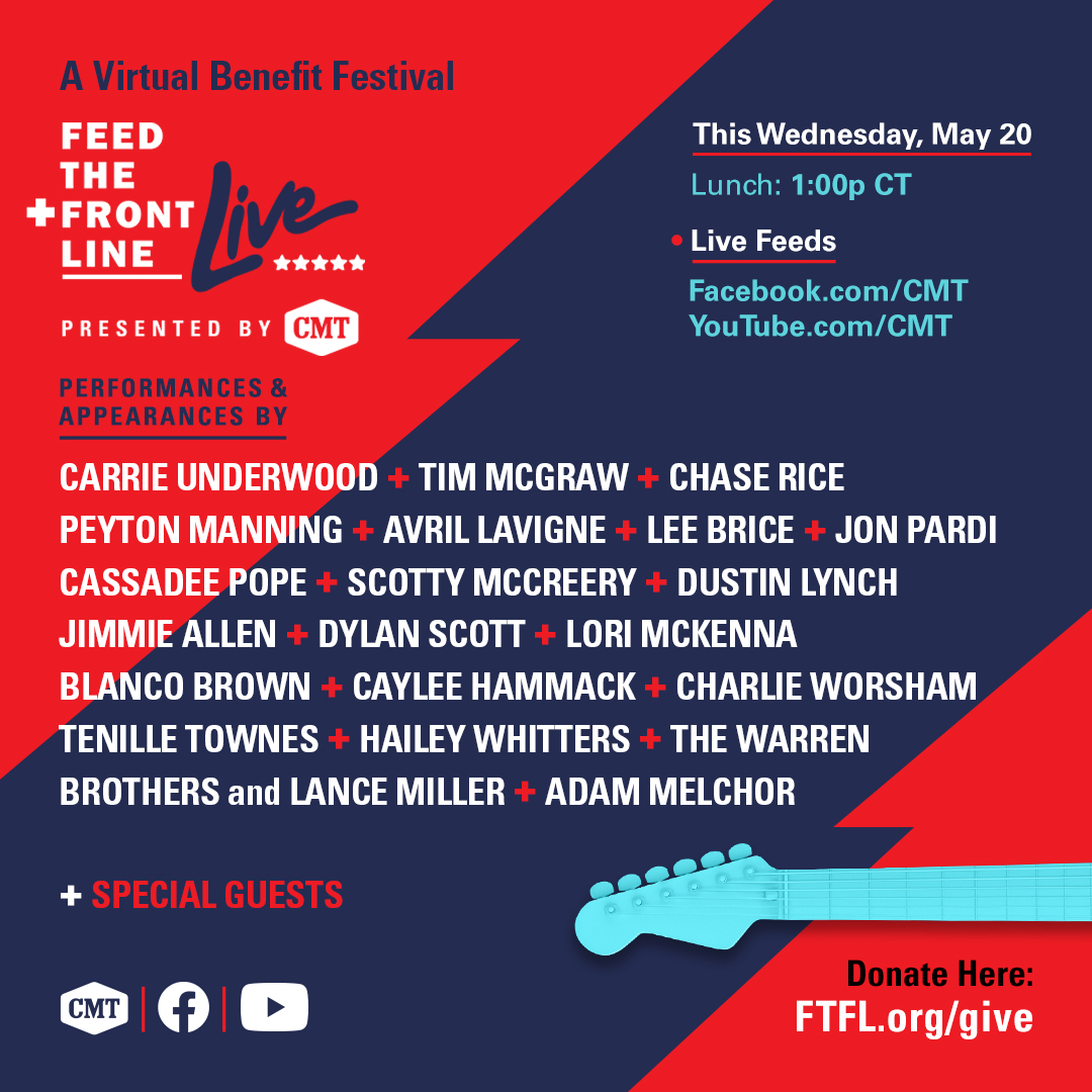 Join me for a live lunch tomorrow on @CMTs Facebook & YouTube!! Honored to be a part of this lineup for Feed the Front Line Live, Presented by CMT. Tune in at 2pm ET/1pm CT and help support people in need & those on the front lines of the COVID-19 pandemic.
