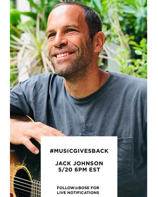Tune in for a free music lesson from @jackjohnson! Jack will be going live on the @bose Instagram channel for #MusicGivesBack on Wed. May 20 at 6pm EST. To support music education BOSE will make a donation to some of Jack's favorite non-profits @littlekidsrock & @donorschoose https://t.co/BYTG4TMw07
