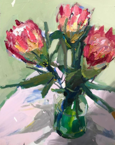 """""""Proteas in a Green Vase"""", 35X45cm, oil on board. #artoftheday #abstractexpressionist #artgallery #StillLife #flowerscapespic.twitter.com/64g7syd8zj"""