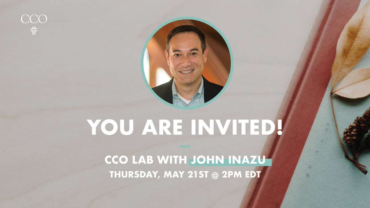 JOIN US for a CCO Lab with John Inazu!   He is the a Professor of Law & Religion at Washington University in St. Louis. He will be with us to talk about his new book and his work and scholarship on religious liberty.  RSVP : https://t.co/ux8kl5dQB5 https://t.co/147Dgi37j1