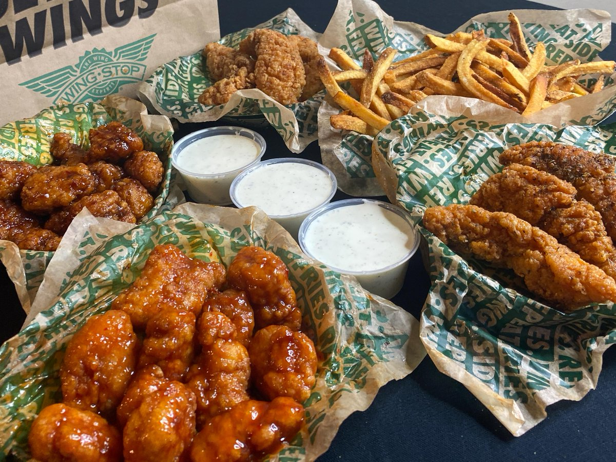 """Wingstop 🍗 on Twitter: """"4 flavors on 6 crispy tenders and 16 juicy  boneless wings with 3 dips and 1 large fry means flavor combos for days!  The All-In Bundle is here"""