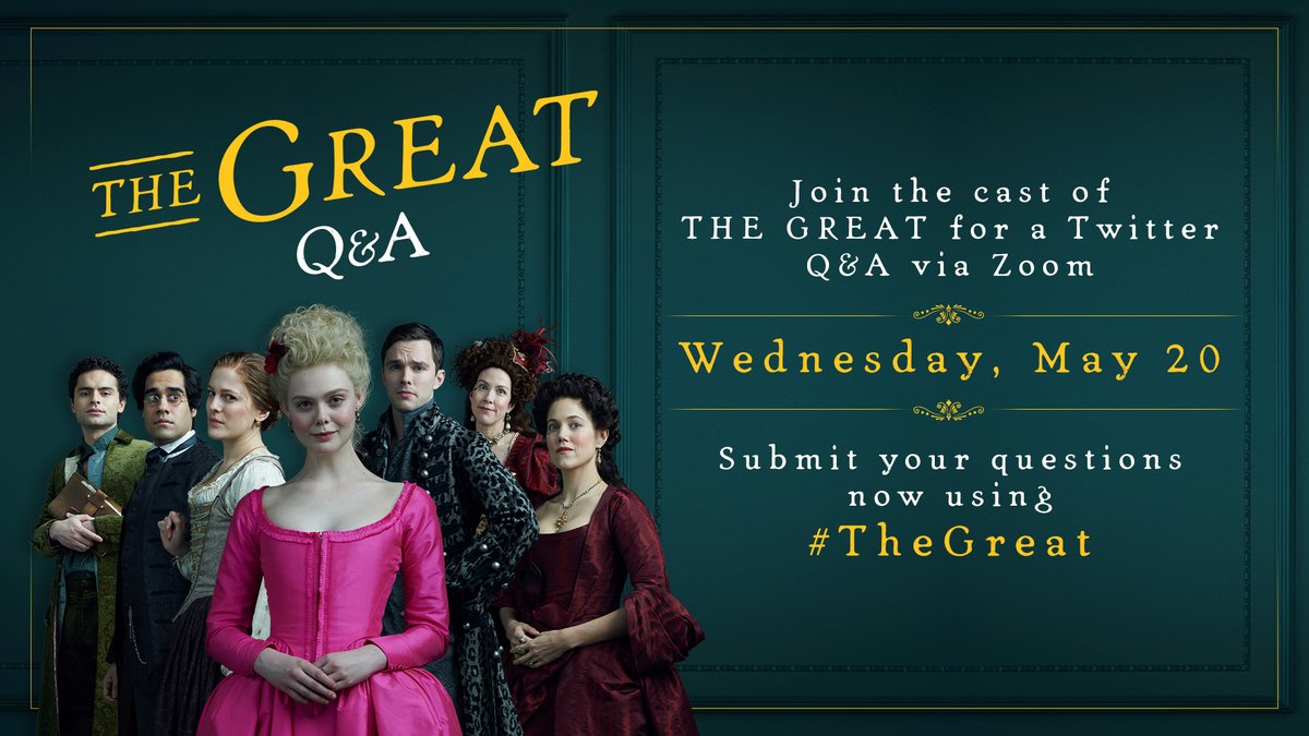 HUZZAH!!! Join us TOMORROW at 12pm PST for a Twitter Q&A with the cast of #TheGreat 👑 https://t.co/wnbyxb6mhA