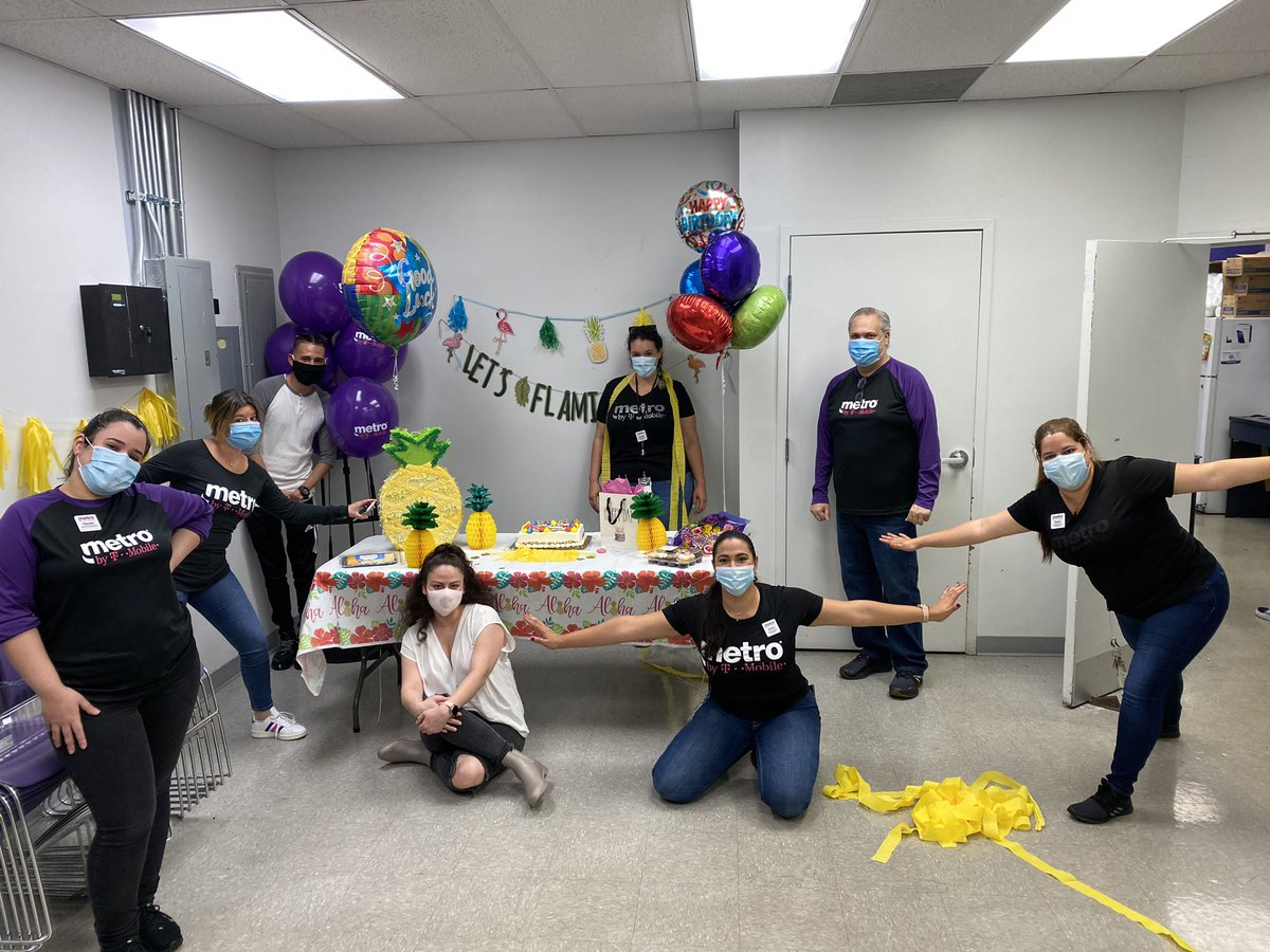 I honestly don't know how I got so lucky. I have the most incredible coworkers, managers, and friends! My early birthday/ going away work party was the cutest and these people sure know how to make a girl feel loved. 💜💜💜 #purplelife #metrobytmobile #workfam