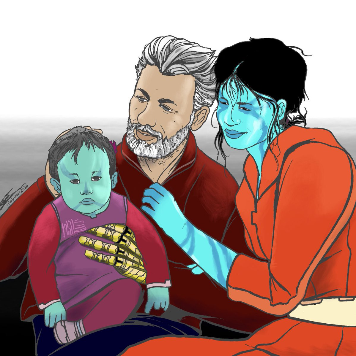 This is a family drawing of my characters from Firebrand; Saten San, Djala Anq, and their daughter Gil Samack. #seppukucomics #seppukucomic #comics #comicartist #familypicture #alien #characterdesign #scifi #scificomics #comicart #artistontwitterpic.twitter.com/8HL55uIiCb