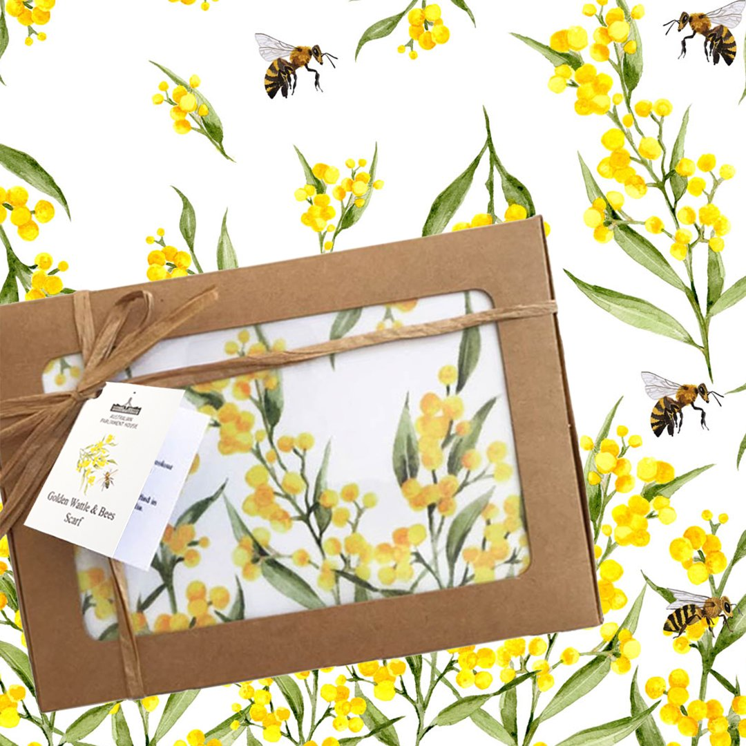 Happy World Bee Day! The Parliament Shop stocks a variety of bee books and bee inspired gifts. This gorgeous Bee & Wattle scarf is designed and handmade in Australia exclusively for The Parliament Shop. Postage is available. Email enquiries to parliament.shop@aph.gov.au