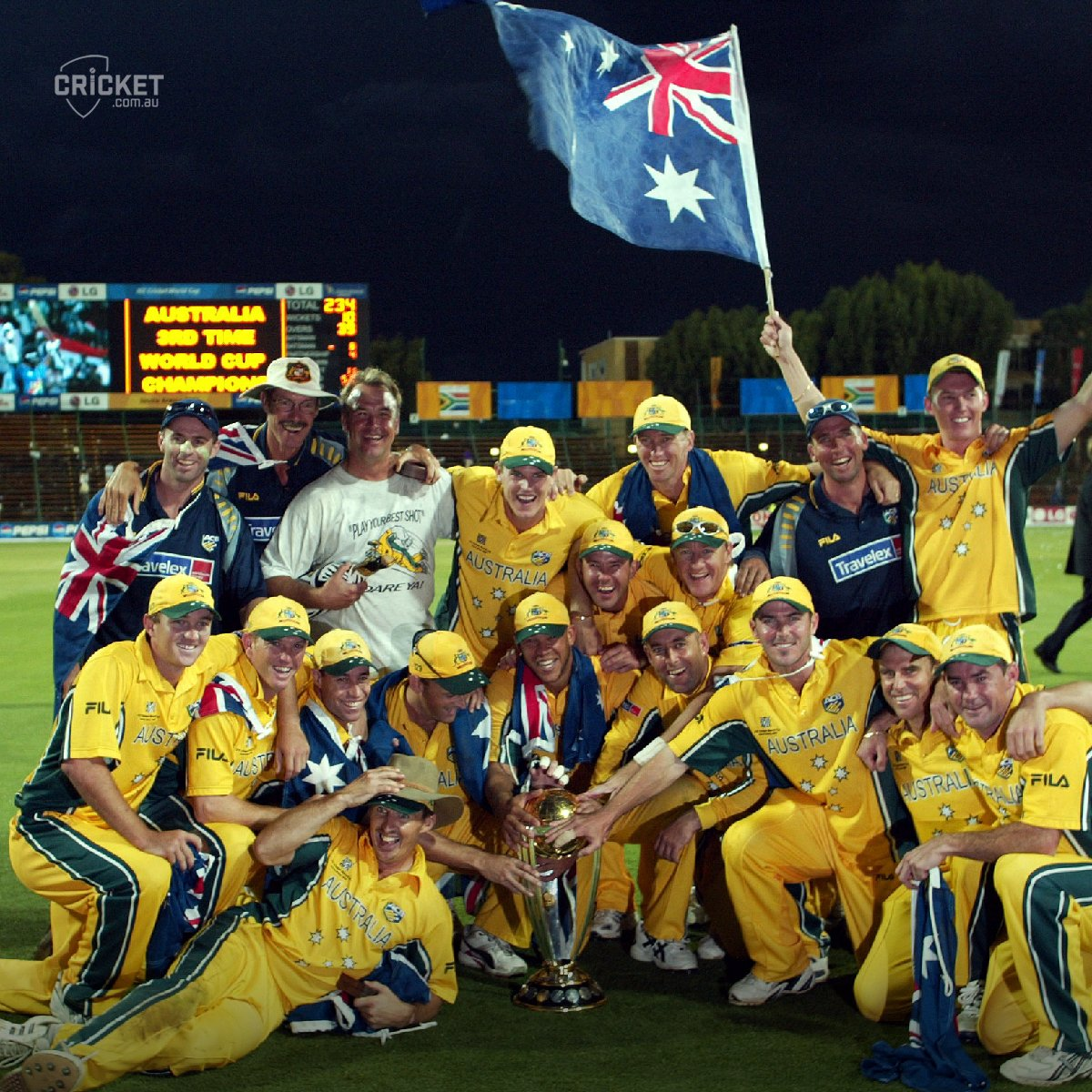 The Aussie celebrations are just beginning after taking the 2003 Cricket World Cup in South Africa #WayBackWednesday