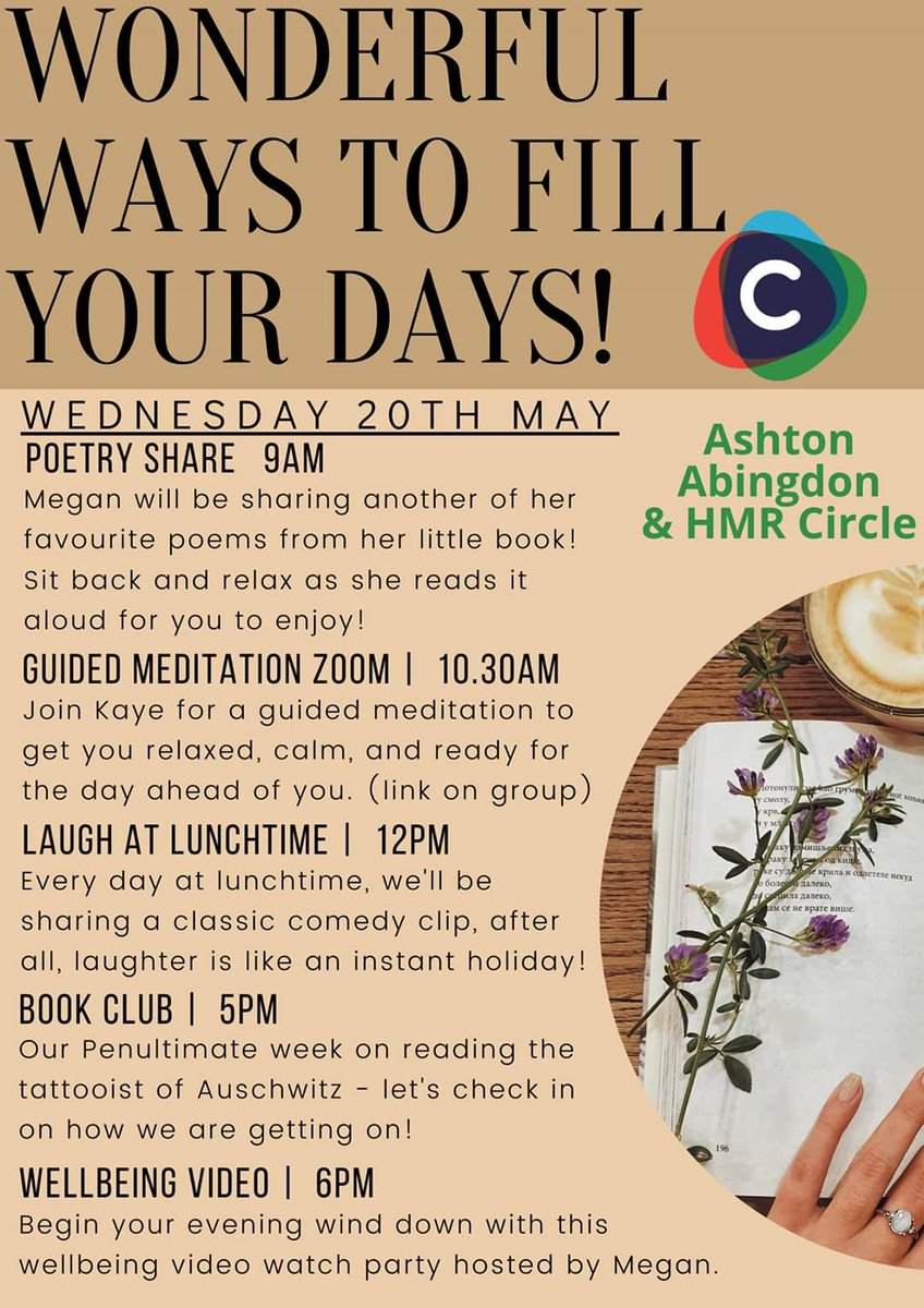 A wonderful Wednesday ahead on our Circles Connected group - https://www.facebook.com/groups/221207395743916/… full of both the spoken and written word today #PoetryPrompt #guidedmeditation #comedyclips #BookClub #circlefamilypic.twitter.com/6XDAysd40O