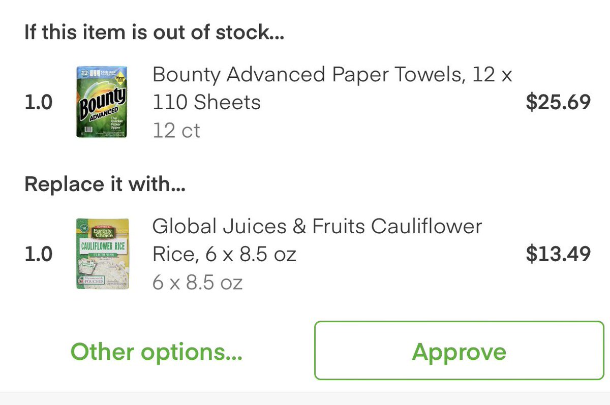 No Instacart, I don't want to replace paper towels with cauliflower rice.