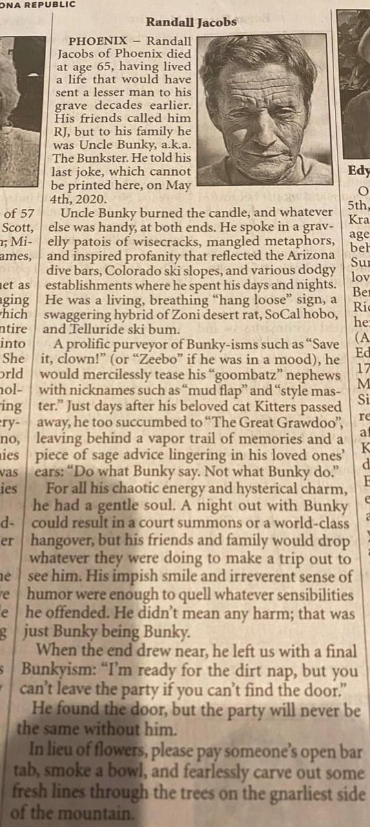 Now this is an obit.