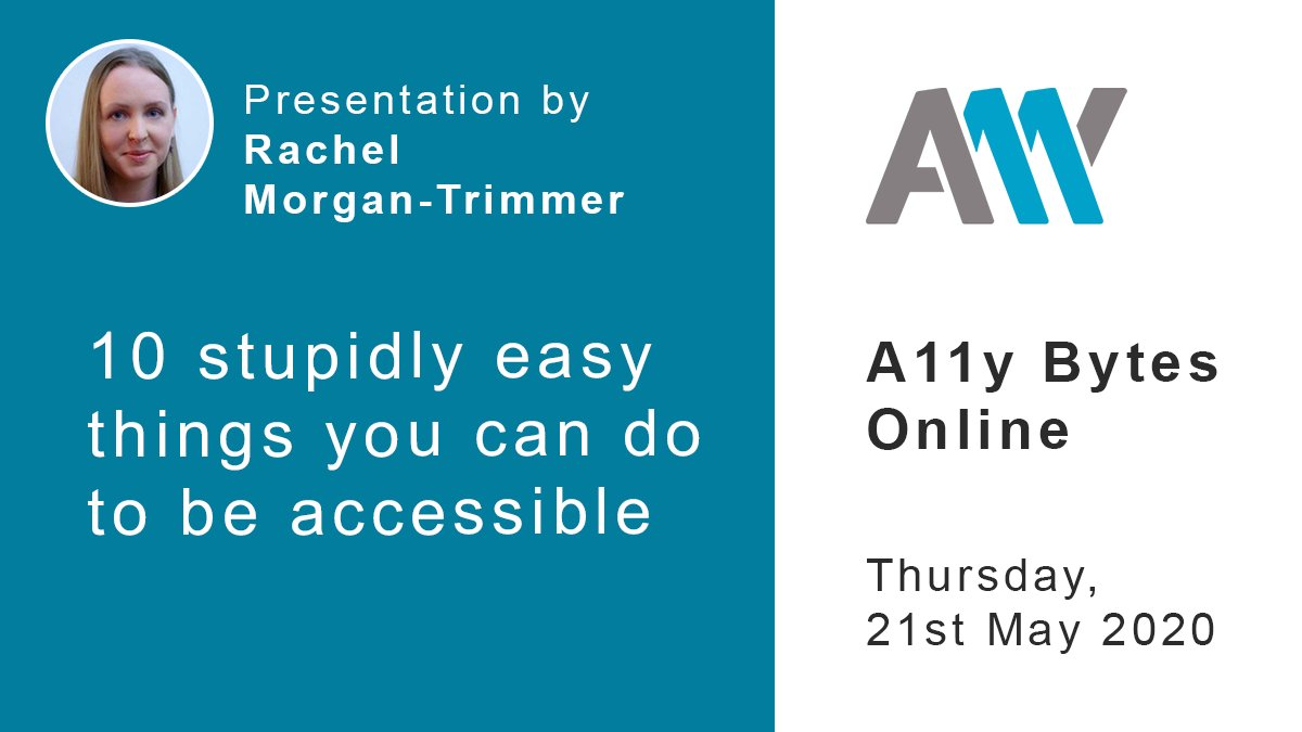 10 stupidly easy things you can do to be accessible. Rachel Morgan-Trimmer @SparkleClass will be the fourth presentation in the second hour of A11y Bytes.  https://t.co/RrIAGkWCk3  #a11y #accessibility #GAAD https://t.co/WpbXjtGcww