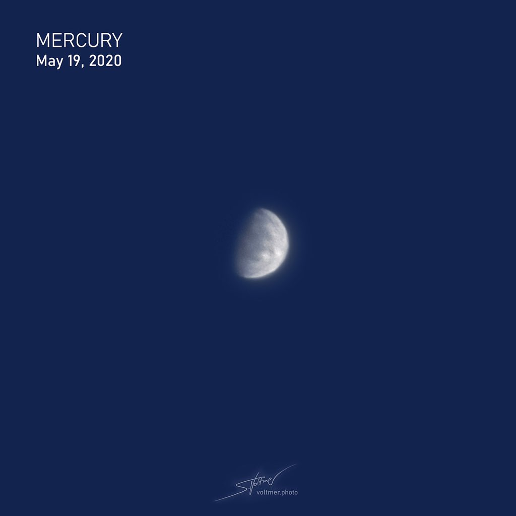 Mercury during daytime. Captured with my C11 EdgeHD + Baader FFC and my planetary cam. ~ 30.000 frames stacked with AutoStakkert.  @sternwpeterberg @astronomietag @baader_astro @UReichert https://t.co/TKDGv8PrDl