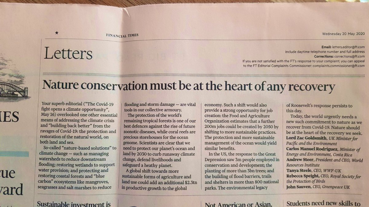 All change - Nature conservation must be at the heart of any recovery - Excellent letter in @FT this morning from @ZacGoldsmith @TanyaMSteele @AndrewSteerWRI @johnsauven @BeccyRSPB @cmrodrigueze @RSPBScience @Natures_Voice @UCLCBER 🐦🐝🦘🦋🐌🕷️🐜🐍🐢🦈🐬🌲🌳🌴✔️🐞🦗