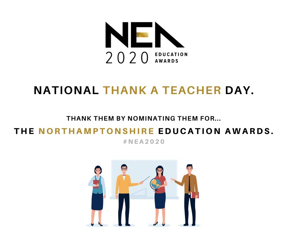 Its #NationalThankATeacher Day. What better way to thank your childs teacher than to nominate them for The #Northamptonshire Education Awards?🏆 Make a teachers day by simply saying thank you for their hard work: northamptonshireeducationawards.co.uk/nominate/ #ThankYou #NEA2020 #TeacherAppreciation