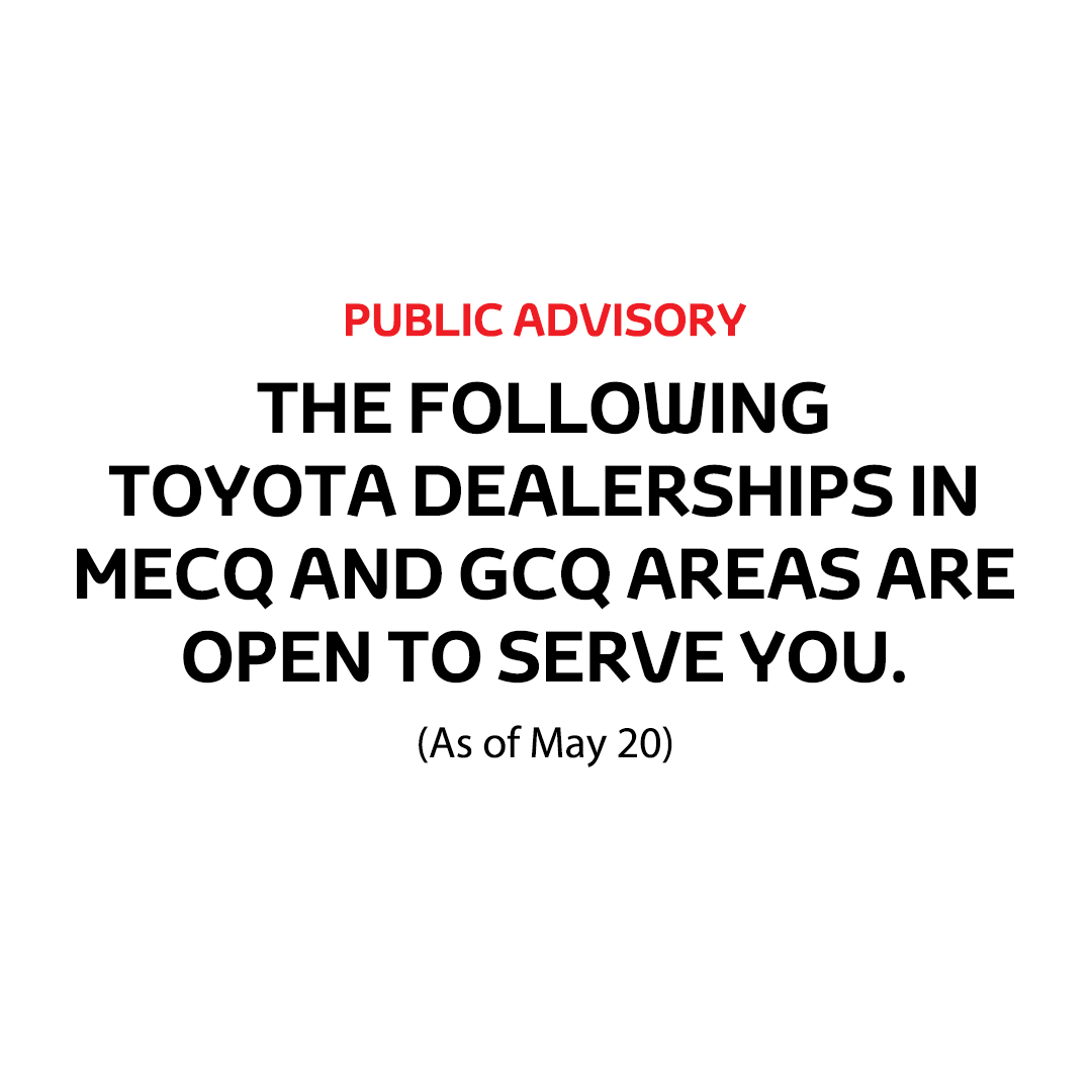 As of May 20, here is the updated list of Toyota dealers operating under MECQ and GCQ. Before visiting, book an appointment by calling your preferred dealer. You may visit this link to find a dealer: https://t.co/8cFnewflr3  Click here to for our services: https://t.co/pUPqXsV70N https://t.co/RHvGs3wWh7