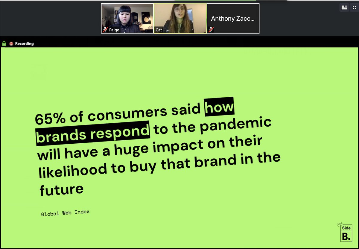 Side B Session #2 knowledge: two thirds of brand growth comes from predisposing buyers (Millward Brown) ⭐️This means how your brand has responded to the pandemic matters for future growth #sidebsessions #covid-19 https://t.co/alc0TCLuA4