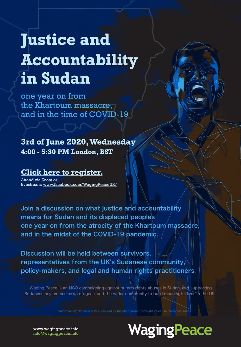 ⚠️NEW EVENT ALERT⚠️ Register at: bit.ly/2LoVGbz 1 year on from #Sudan's 3 June 2019 massacre, hear from key panel incl. survivors & community, & @jehannehenry @RobertF40396660 @CharlieLoudon @CockettRichard about justice & accountability. #COVID19Sudan #BlueforSudan
