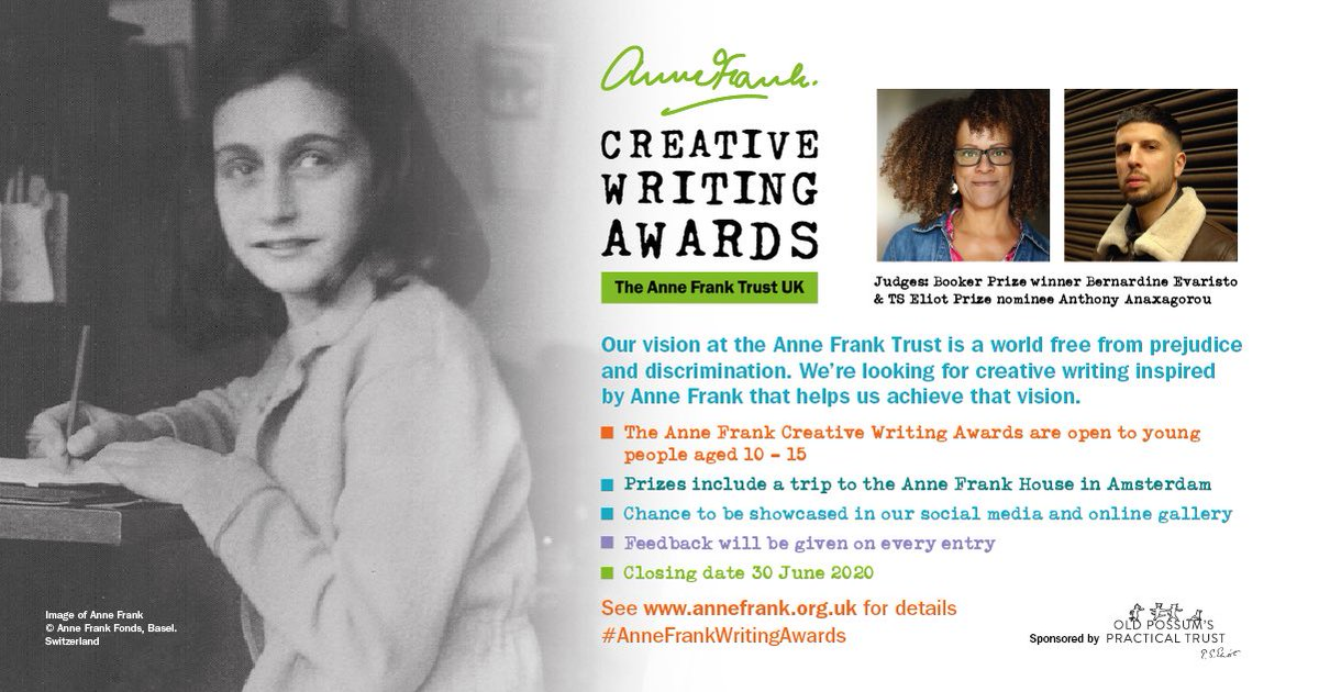 📣 ANNOUNCEMENT 📣⠀ ⠀ Our first ever #AnneFrankWritingAwards ⠀ For 10-15 yr olds ⠀ Write a poem or story to help create a world free from prejudice! ⠀ ⠀ Judges @Anthony1983 & @BernardineEvari ⠀ Top prize: a trip to @annefrankhouse Amsterdam ⠀ annefrank.org.uk/the-anne-frank…