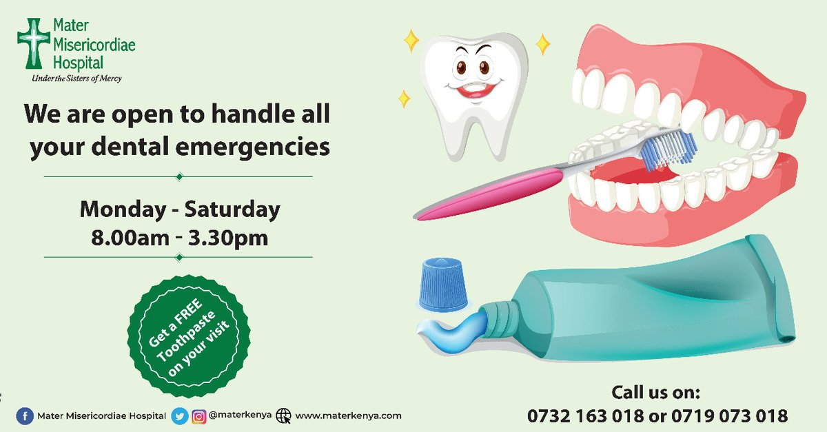 Even #BehindTheMask,you still need a fresh breath and a great smile! Our dental unit will give you just that and you get to walk away with a free toothpaste in collaboration with @Colgate. Call us today on 0719073018 for details #ColgateSmile #MMHCares #StaySafe #KomeshaCorona